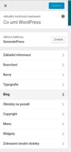 Nastavení GeneratePress na tomto webu