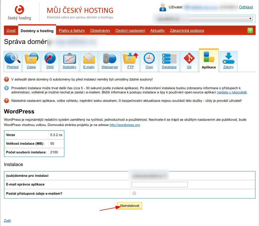 Instalace WordPressu na Českém hostingu
